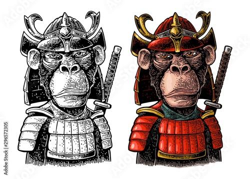 Monkey with samurai sword and japan armor Canvas Print