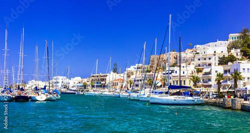 Keuken foto achterwand Donkerblauw Greek island - Naxos, marina near Chora. Cyclades