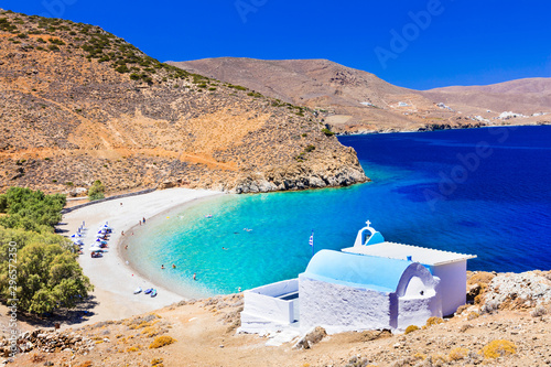 beautiful beaches of Greece - Astypalaia island , and little church of Agios Konstantinos