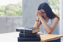 Women Praying Hand Faith Jesus Promise And Holy Bible With Cross On Table