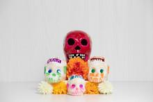 Day Of The Dead Offering, Mexican Ofrenda, Sugar Skulls