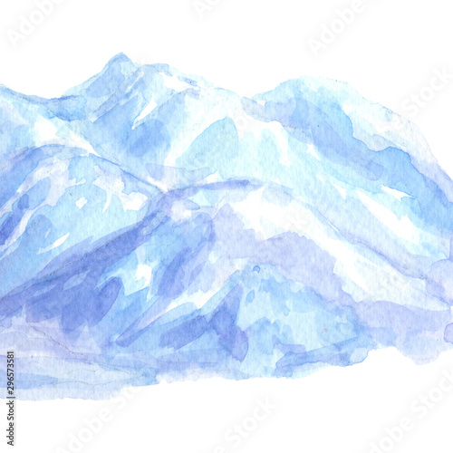 Mountain landscape with winter snow blue shade on white background hand drawn watercolor painting #296573581