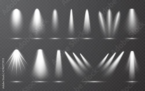 Obraz Spotlight set collection on transparent bakground. Light effect. Bright light beam. Vector illustration - fototapety do salonu