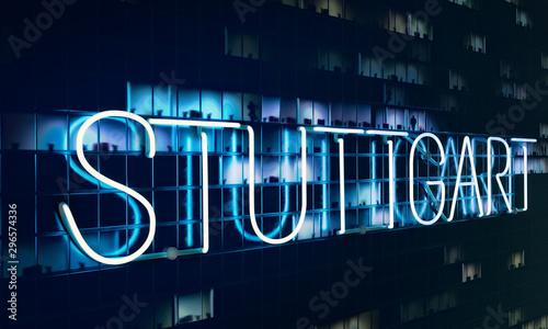 Stuttgart neon text night facade