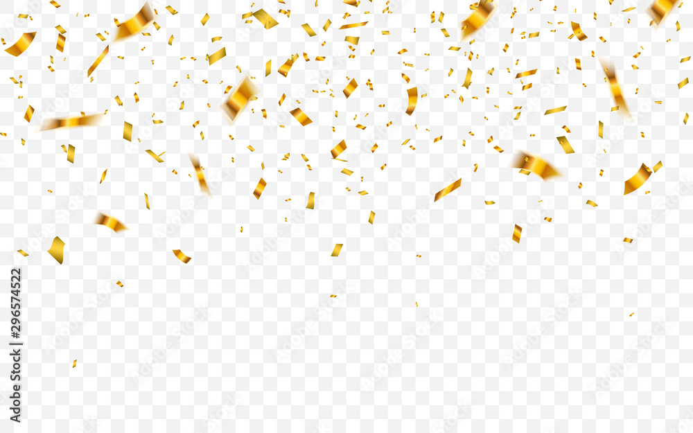 Fototapety, obrazy: Gold confetti. Celebration carnival falling shiny glitter confetti in gold color. Luxury greeting card. Vector illustration