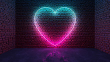Glowing Neon Heart Shaped Like...
