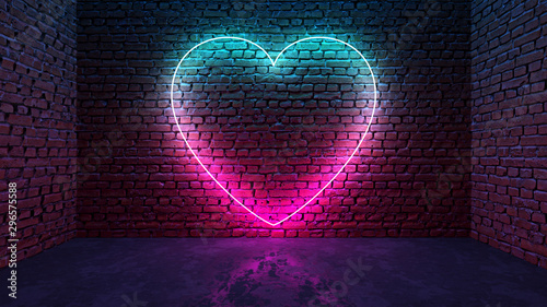 Glowing neon heart shaped like icon on brick wall in dark room Obraz na płótnie