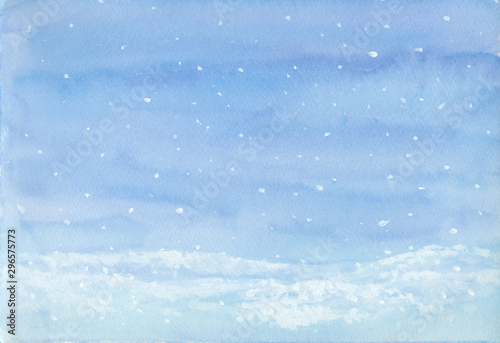 Foto op Canvas Blauwe hemel Falling snow landscape winter background, blue and white hand painted on paper for New year, Christmas greeting card, image or text space, or wallpaper backdrop
