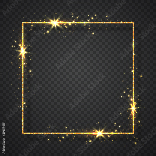 Gold shiny glitter glowing vintage frame with shadows isolated on transparent background Canvas Print
