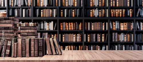 Fotografía  Bookshelves in the library with old books 3d render 3d illustration