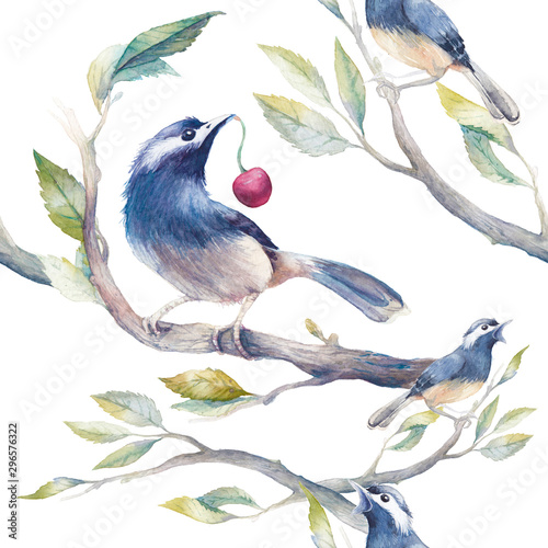 Watercolor spring seamless pattern with birds, tree branches and cherry Wallpaper Mural