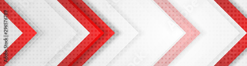 Fotomural  Red and grey geometric hi-tech arrows corporate banner design