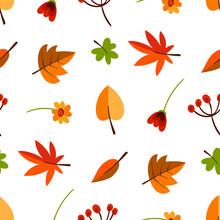 Autumn Forest Flora Flat Vecto...