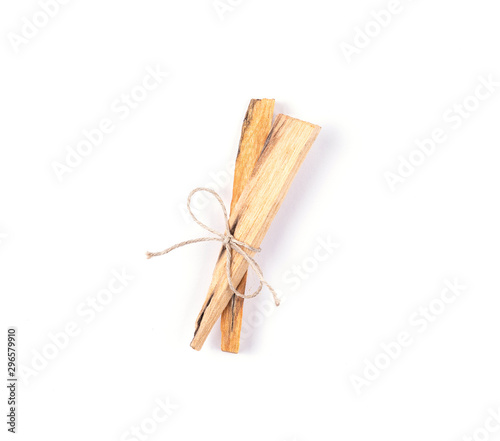 Pinturas sobre lienzo  Two palo santo tree incense sticks isolated on white background
