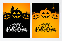 Two Template Design Layout Of Poster Or Flyer With Handwritten Lettering Of Happy Halloween, Pumpkins And Raven.