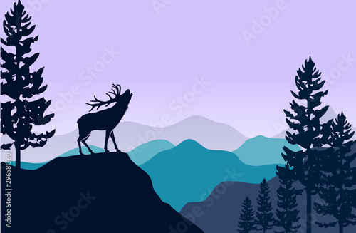 Foto auf Leinwand Flieder silhouette of deer and pine tree at Flat mountains landscape hills