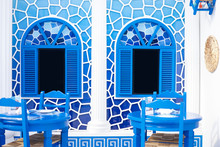 Greece Style Restaurant. Greek Style Decoration In Blue And White. Inside The Window Is Black Screen That Can Insert Photo , Text Or Your Personalized Content.