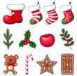 Niedliche Weihnachtselemente - Vektor-Illustration