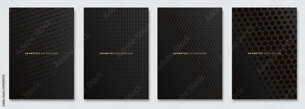 Fototapeta Vector abstract background, creative subtle halftone patterns, geometric gradient texture. Deluxe Minimal pattern design. Dark colors. Modern Cover templates set.