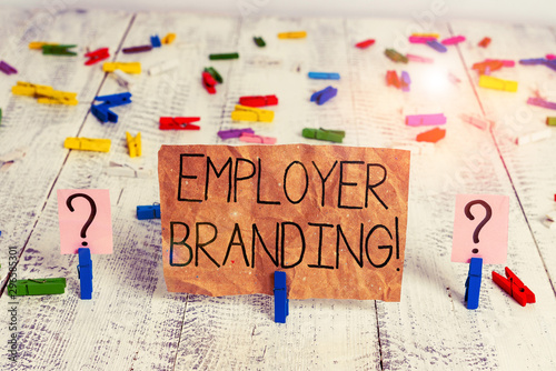 Fototapeta Text sign showing Employer Branding. Business photo text promoting company employer choice to desired target group Scribbled and crumbling sheet with paper clips placed on the wooden table obraz