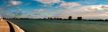 Port Huron Michigan In Panoramic Format Wide Angle To Show The Industrial Skyline. Nice Autumn Day