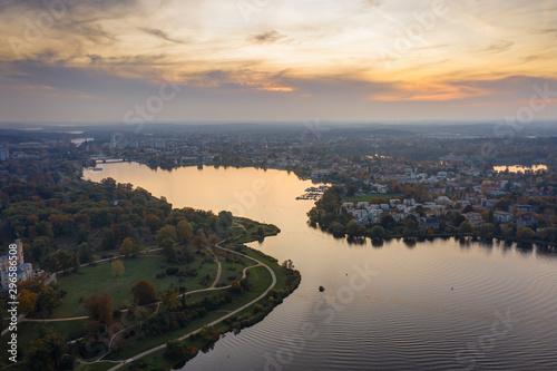 Photo  Potsdam, Deutschland. Glieniker Brücke bei Sonnenuntergang