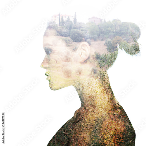 Foto op Aluminium Olijfboom Double exposure portrait of beautiful girl in profile. Young woman and lanscape with olive trees.