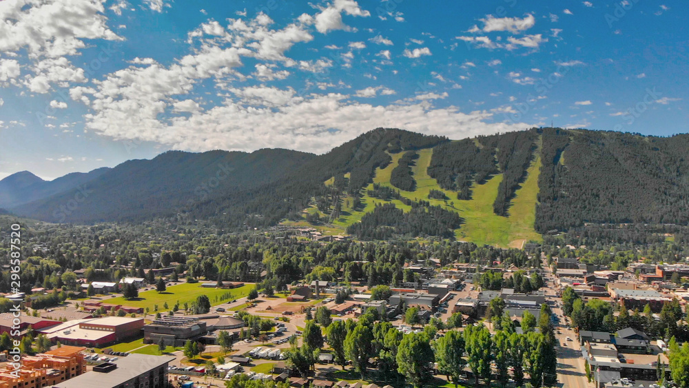Fototapety, obrazy: Panoramic aerial view of Jackson Hole homes and beautiful mountains on a summer morning, Wyoming