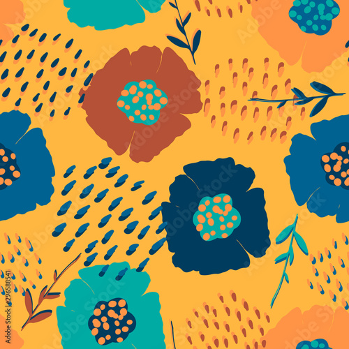 Photographie  Seamless pattern with creative decorative flowers in scandinavian style