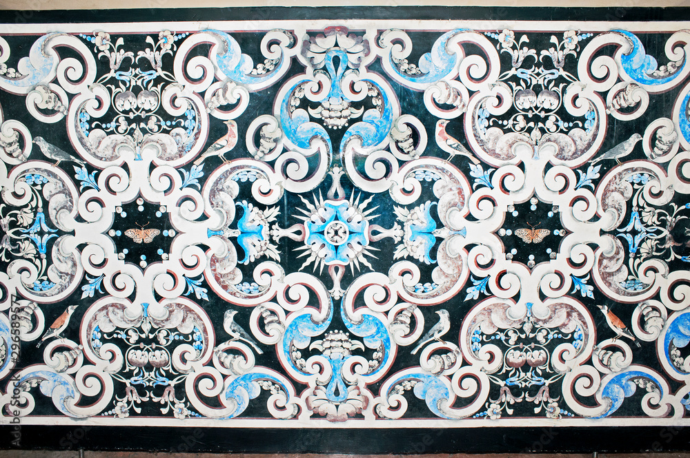 Fototapety, obrazy: Detail of a marble slab with nacre inlaid in baroque style, charterhouse of Padula, Salerno, Italy