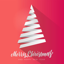 Simple Vector Christmas Tree Made From White Paper Stripe - Original Merry Christmas Card. Volume Paper Cut Fir Like Arrow With Shadow.