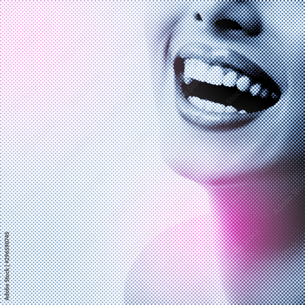 Fototapeta Illustration of beautiful wide smile of young woman with great healthy white teeth isolated on white background. Retro typographic stylization. Abstract female portrait