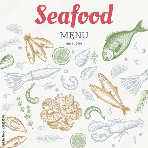 Fototapeta Vector vintage seafood restaurant flyer. Hand drawn banner. Great for menu, banner, flyer, card, seafood business promote. obraz