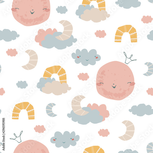 plakat Seamless pattern with rainbow, clouds, moon in the crown. Background in hand drawn style for poster, fabric, wallpaper, textile, wrapping paper. Vector illustration