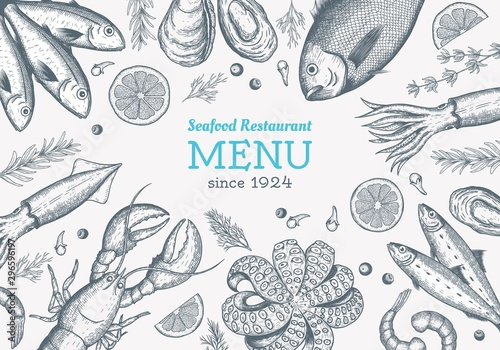 Vector frame with hand drawn seafood illustration - fresh fish, lobster, crab, oyster, mussel, squid and spice Slika na platnu