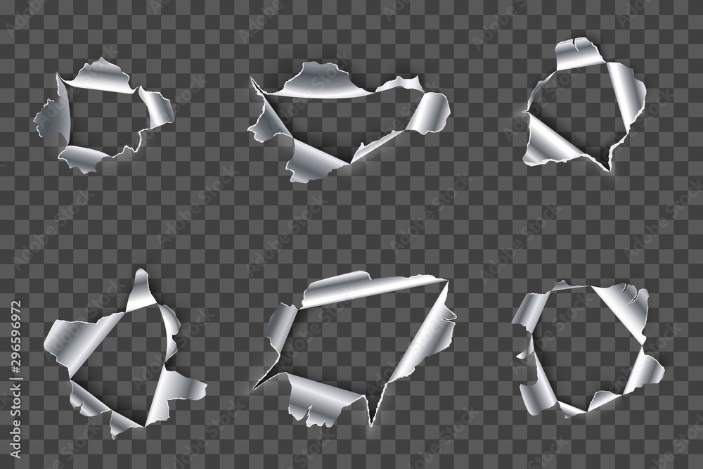 Fototapeta Hole in metal. Ripped steel, ragged metals holes and crack in metallic material realistic 3D vector set. Fractured silver metallic gaps on transparent background. Damaged iron cliparts collection