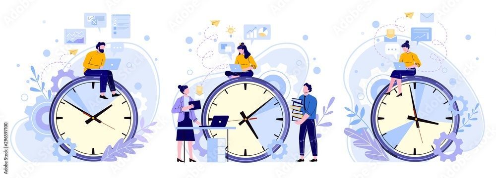 Fototapeta Efficiency work time. Man, woman and workers teamwork hours. Freelance workers, productivity clocks and people working on laptop vector illustrations set. Workflow scheduling, time management