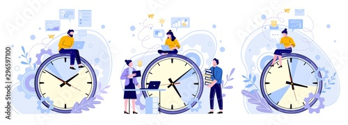 Obraz Efficiency work time. Man, woman and workers teamwork hours. Freelance workers, productivity clocks and people working on laptop vector illustrations set. Workflow scheduling, time management - fototapety do salonu