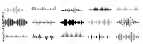 Black sound waves Wallpaper Mural