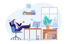 Procrastinating Lazy Freelancer Or Business Man Sitting At The Desk In Office. Vector Flat Cartoon Illustration