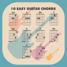 10 Basic Guitar Chords In A Beautiful Blue Design, Illustration For Guitarists.