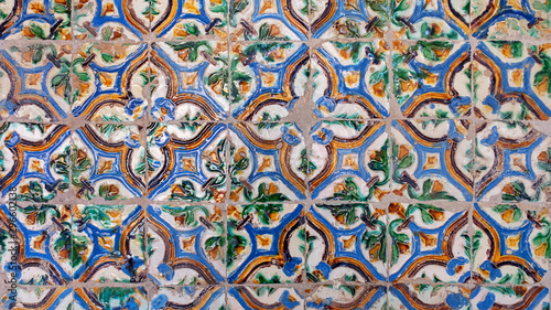 Old traditional arista tiles found in Seville, floral motifs forming out of four Canvas Print