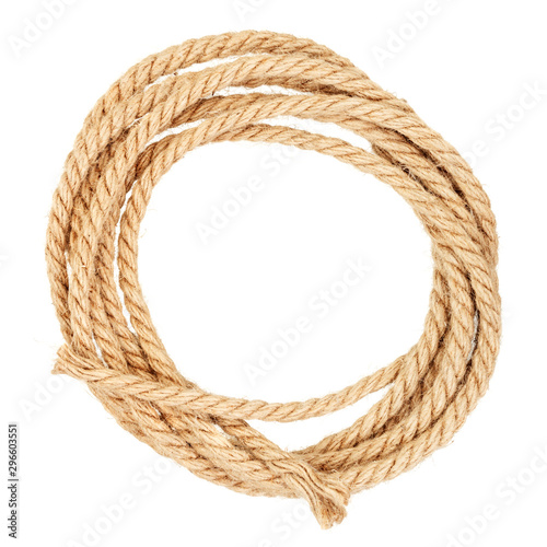 Cuadros en Lienzo Coil of jute rope isolated on a white background