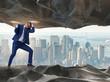 Leinwandbild Motiv Businessman supporting stone under pressure