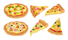 Italian Pizza Vector Illustrated Set. Colorful Restaurant Tasty Isolated Nutrition