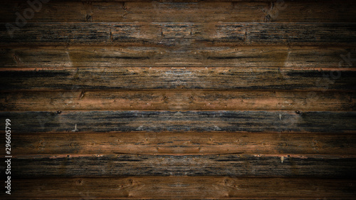 Poster Wood old brown rustic dark wooden texture - wood background