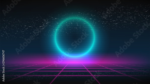 Fototapeta Synthwave background. Dark Retro Futuristic backdrop with pink perspective grid and glowing blue circle. TV glitch. Abstract Retrowave template. 80s Vaporwave style. Stock vector illustration obraz
