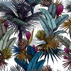 Fototapeta Kwiaty Seamless pattern with colorful exotic flowers and tropical palm leaves. Hand drawn vector illustration.