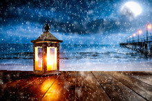 Winter Background Of Free Space And Snow Decoration. Christmas Time.