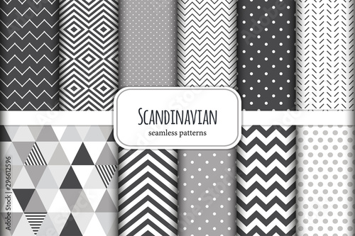 Poster de jardin Artificiel Cute set of Scandinavian geometric seamless patterns in neutral palette colors, vector illustration